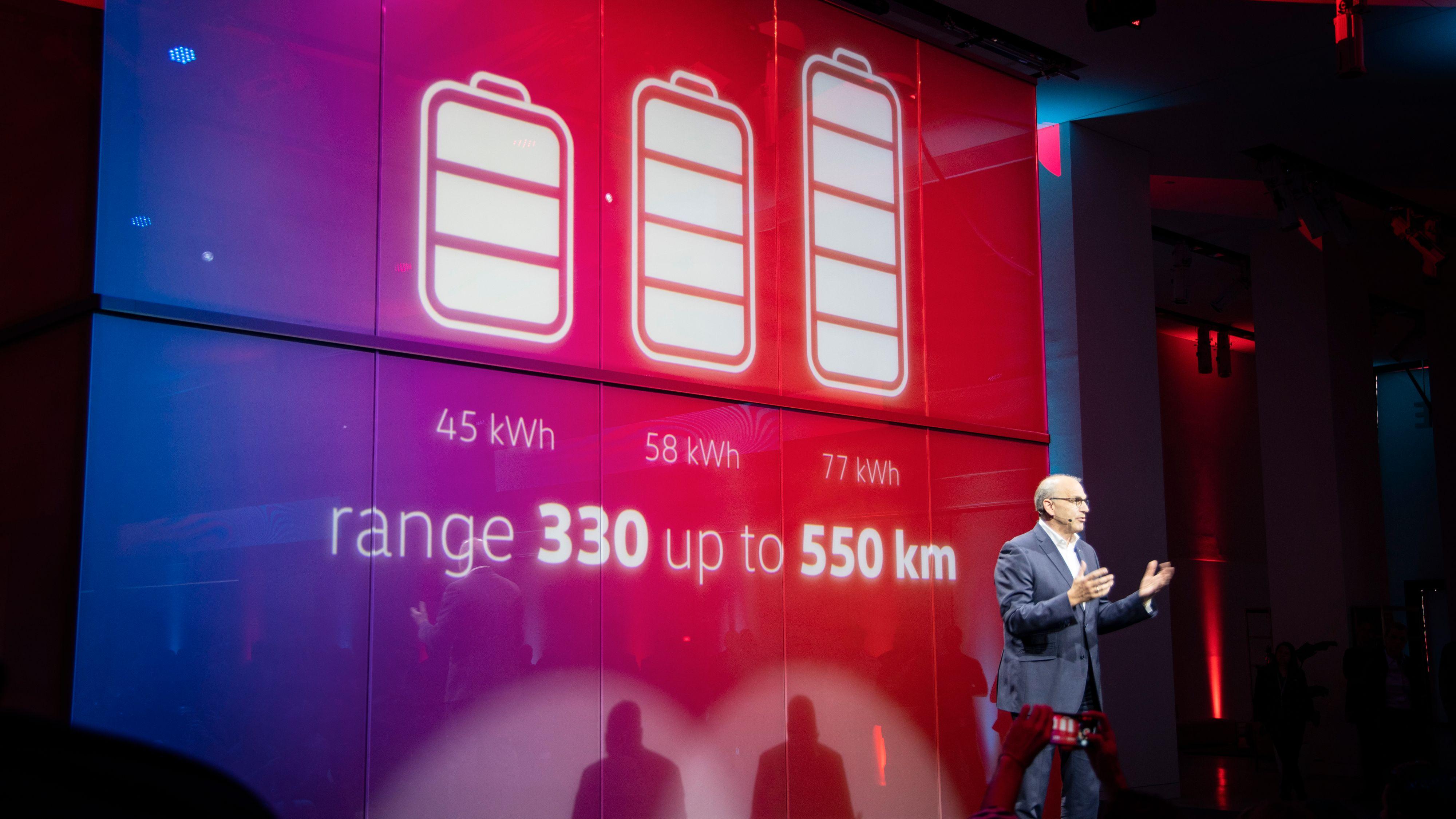De tre batteripakkene blir på henholdsvis 45, 58 og 77 kWh netto.