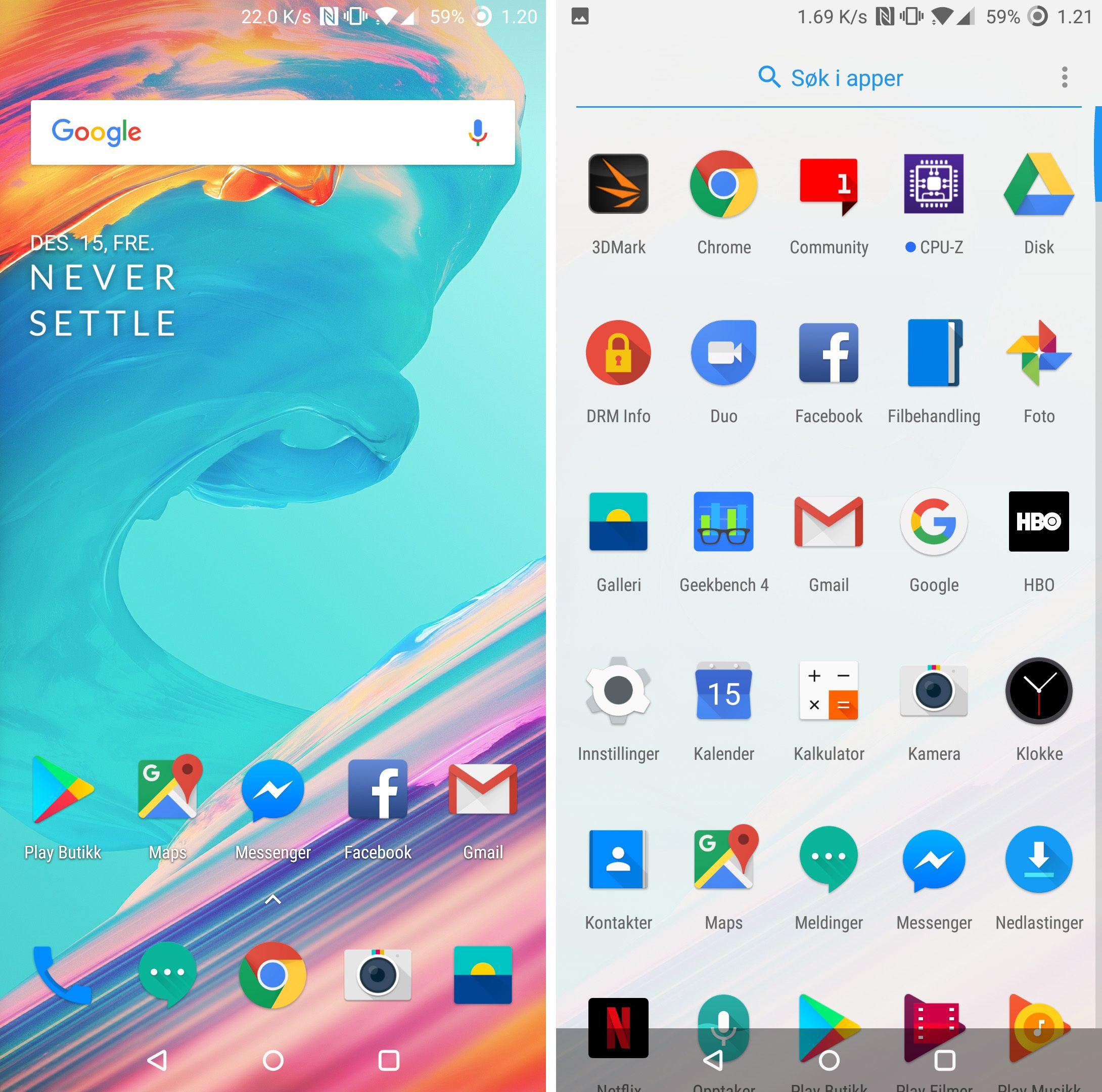 Grunnleggende sett er det ikke så lett å se store forskjeller på OnePlus' OxygenOS og ren Android, men begynner du å trykke litt er både grafikk og noen av funksjonene litt annerledes. Bilde: Finn Jarle Kvalheim, Tek.no