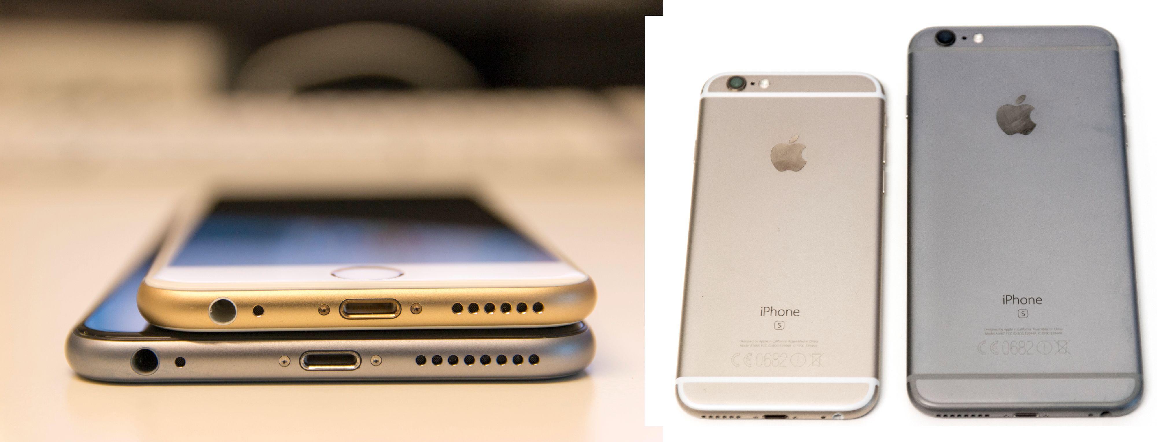 iPhone 6S Plus og den vanlige iPhone 6S. Plus-modellen er vesentlig større. Foto: Niklas Plikk, Tek.no