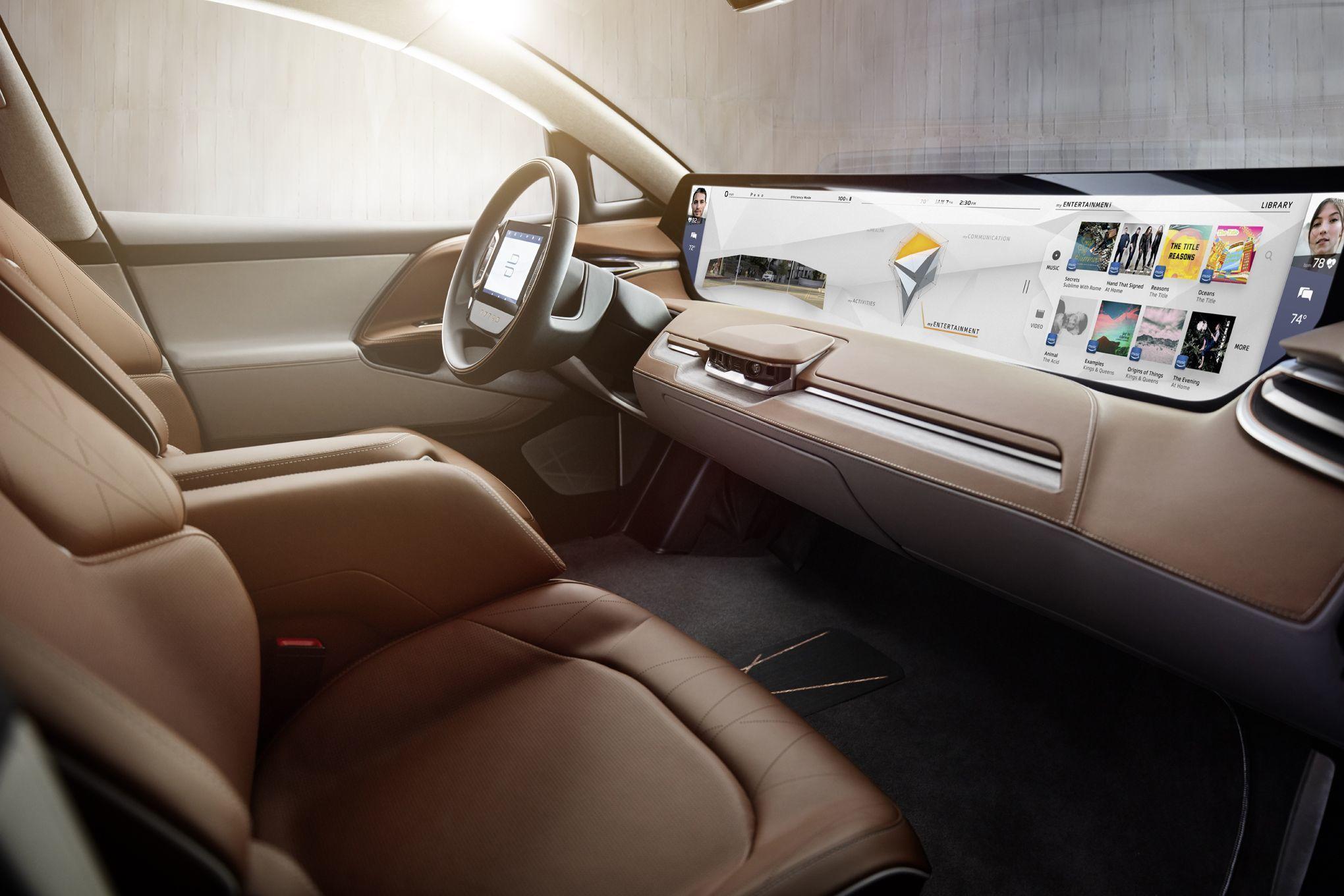 Slik ser skissene av interiøret til Byton-konseptbilen ut. Legg merke til den gigantiske skjermen på tvers av dashbordet. Bilde: Byton