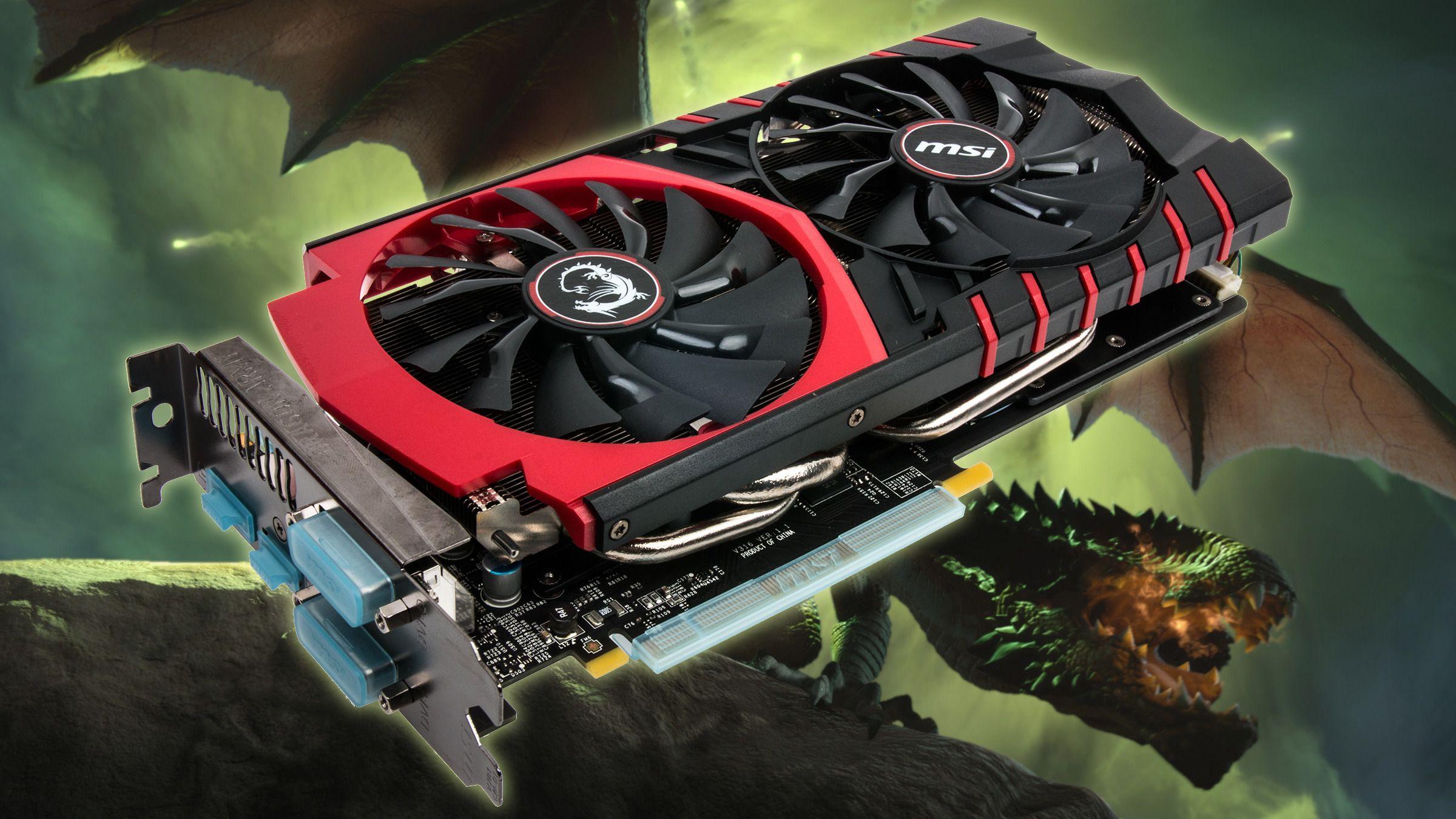 MSI GeForce GTX 970 Gaming 4G Twin Frozr V. Foto: Varg Aamo, Tek.no / EA (bakgrunn)