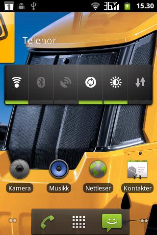 Menyene er standard Android 2.3.