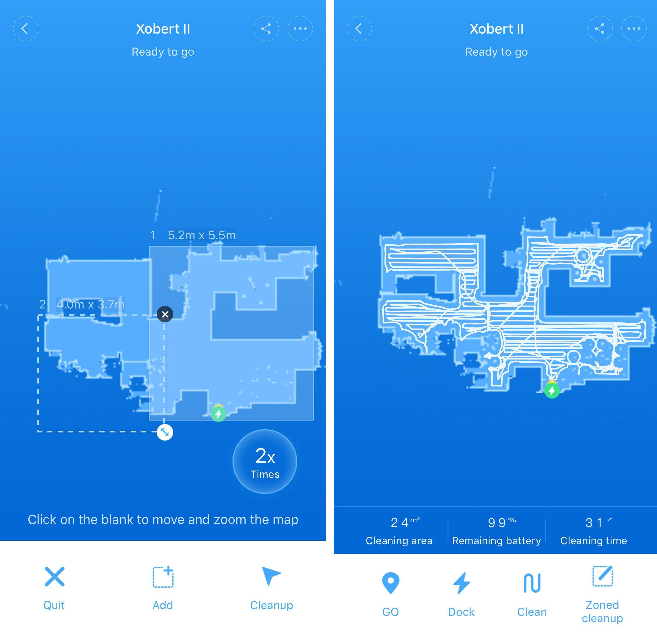 Appen viser deg nøyaktig hvor robotstøvsugeren har kjørt, og du kan tegne opp ruter på kartet hvor du vil at støvsugeren skal støvsuge.