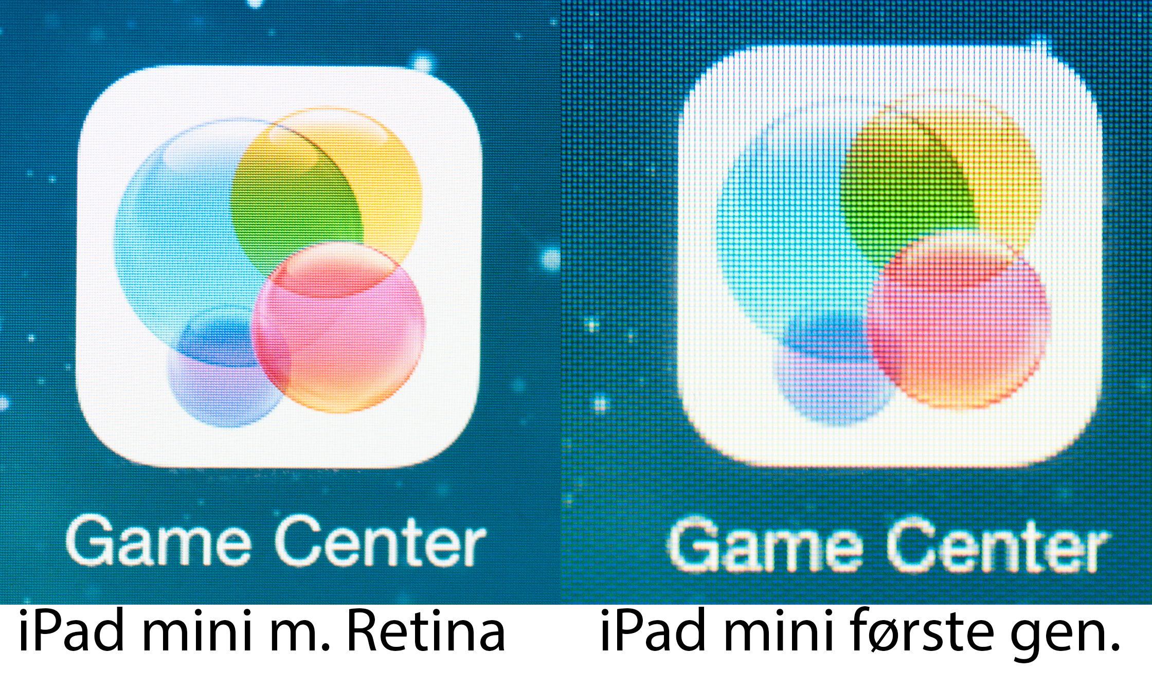 Det er stor forskjell på skjermene i første og andre generasjon iPad mini. Se full størrelse for best inntrykk av forskjellene.Foto: Finn Jarle Kvalheim, Amobil.no