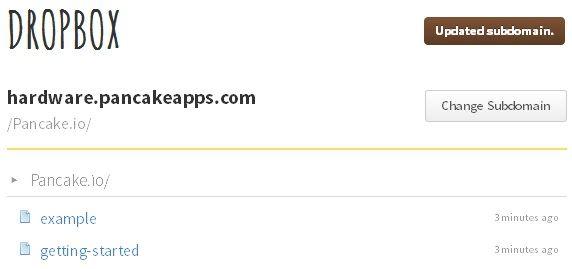 Bare sleng inn HTML-filene i Dropboks-mapen og Pancake sørger for resten.