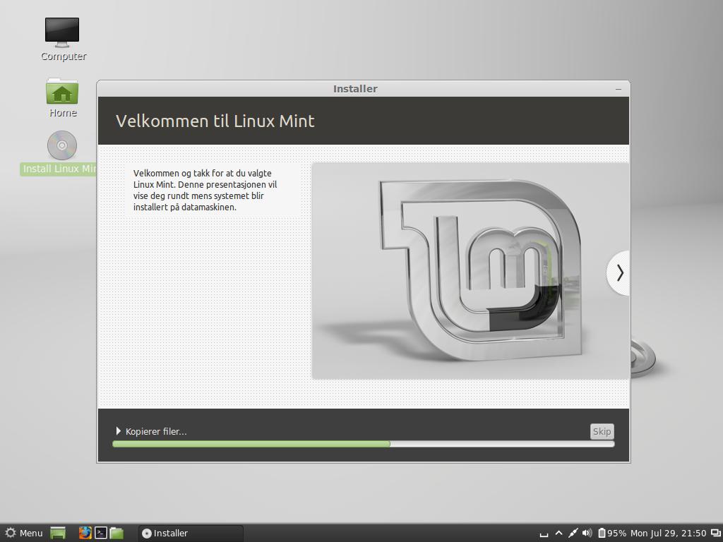Installasjonen av Linux Mint. Foto: Hardware.no