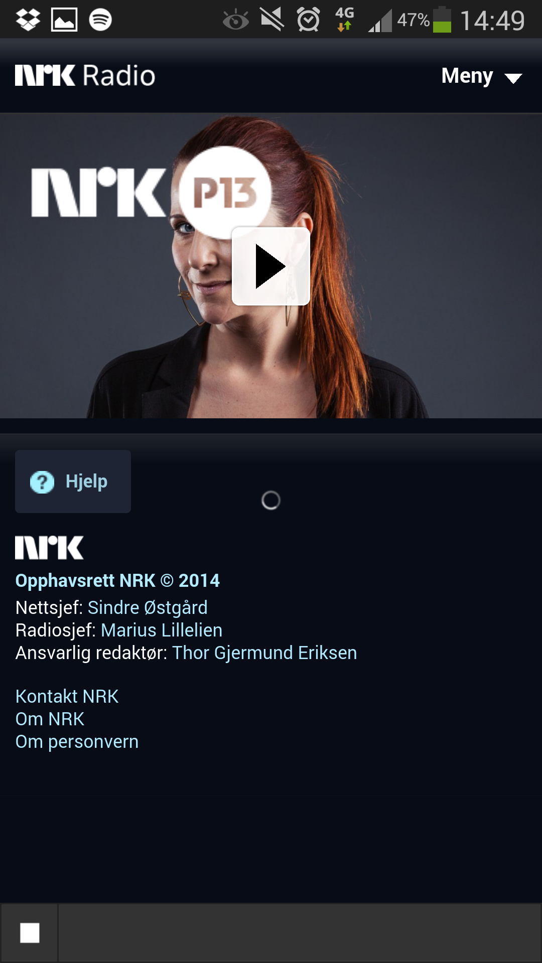 Det er ikke alle radio-apper som fungerer like bra. Dessverre er NRKs app en av disse. Det er for eksempel ikke opplagt om den er i ferd med å spille radio, eller om den har låst seg. To minutter etterpå, mens jeg jobbet med å få overført forrige skjermdump til skyen, begynte NRK-appen å spille. Det til tross for helt grei 4G-dekning, og ingen problemer med de andre appene. Foto: Finn Jarle Kvalheim, Amobil.no