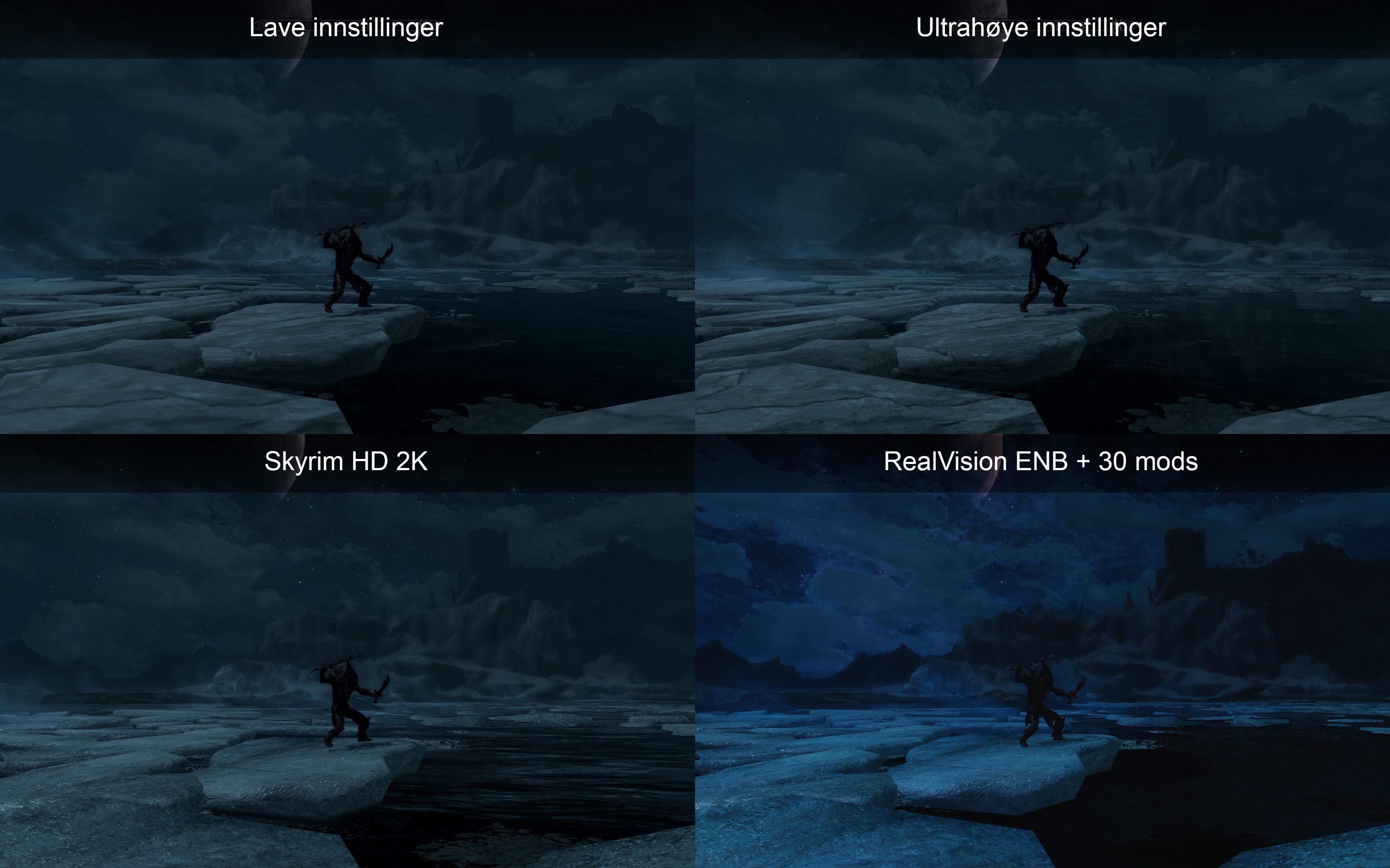 Med RealVision ENB og alle modifikasjonene begynte isblokkene å duppe opp og ned i vannet.