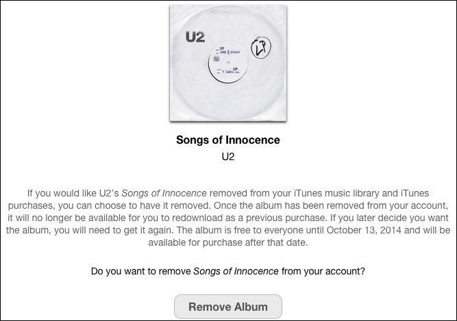 Nå kan du fjerne U2-albumet med ett klikk.
