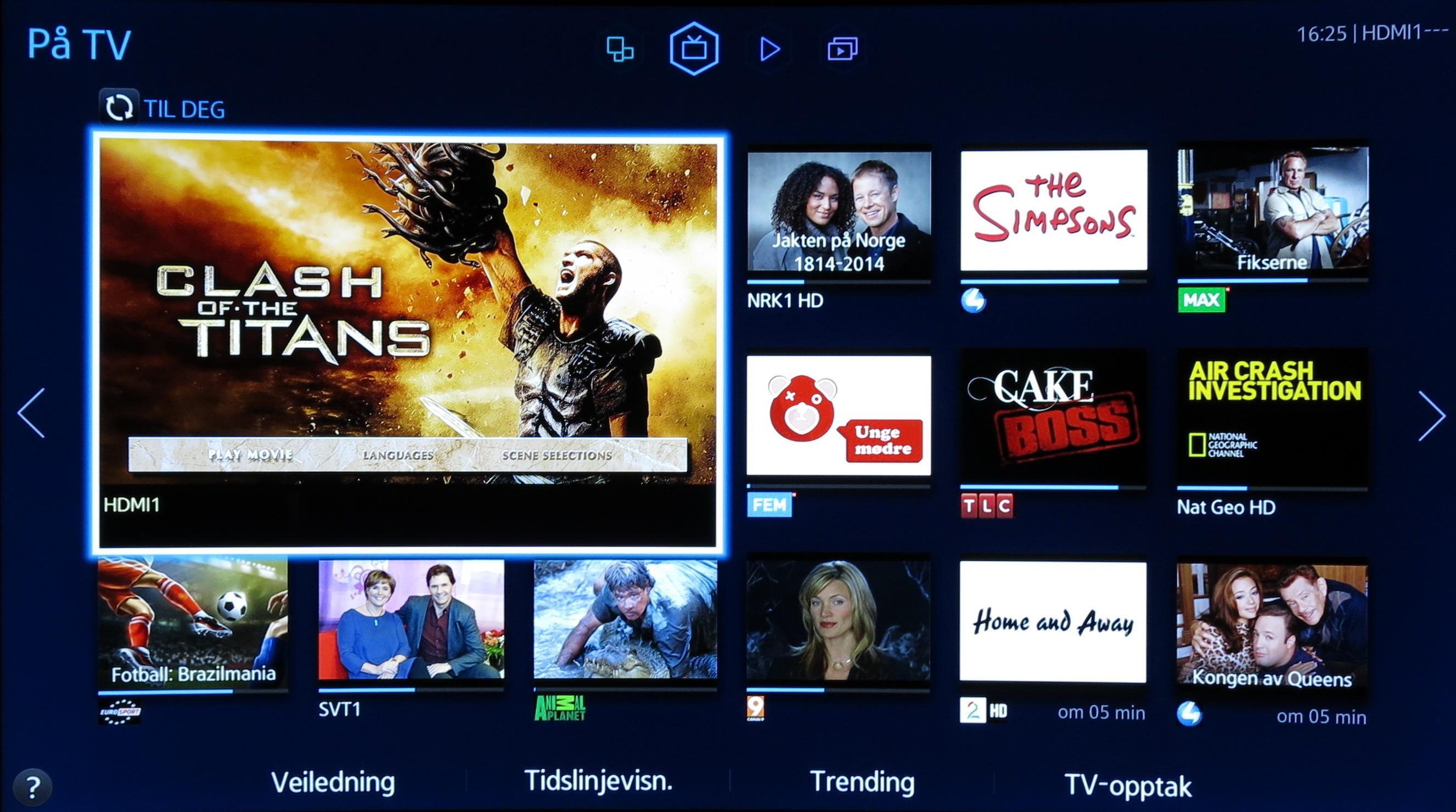 På TV-siden viser små bilder av hva annet som vises på de ulike kanalene. .Foto: Ole Henrik Johansen / Hardware.no