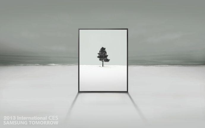 Samsung har også frigitt dette bildet av en stående TV.Foto: Samsung