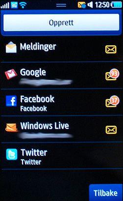 Social Hub viser alle måtene man kan utveksle meldinger med telefonen. Slik ser det ut før vi har lagt til Exchange-konto og alternativ jobb-mail.