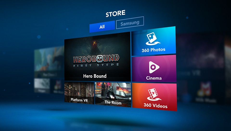 Slik ser applikasjonsbutikken i brillen ut. Foto: Samsung/Oculus