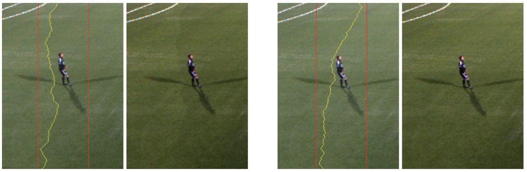 Bildeanalyse sørger for en dynamisk fargekorrigert søm som går utenom personene på bildet. Dette skjer i sanntid, og resultatet blir som på bildet helt til høyre.Foto: Fra presentasjonen av Bagadus