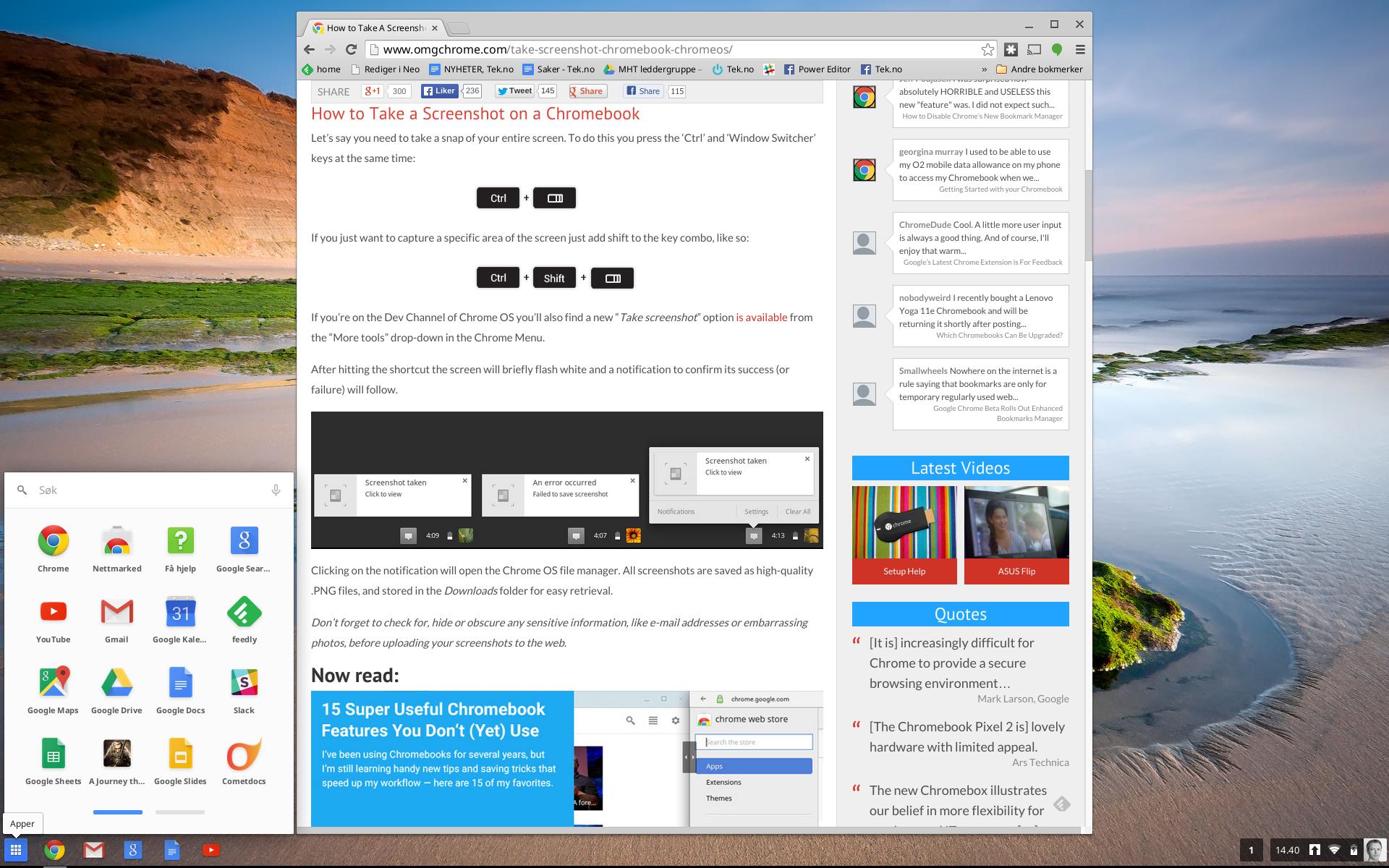 Chrome OS. Menyknappen nederst i venstre hjørne viser alle appene dine, og lar deg søke. I en oppdatering endret denne seg til et forstørrelsesglass, og app-menyen dukker nå opp midt på skjermen i stedet.