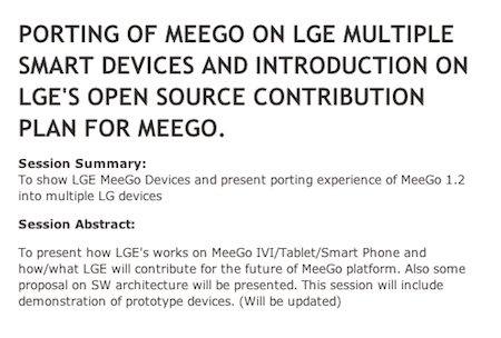 Slik ser LGs program for MeeGo Conference ut.