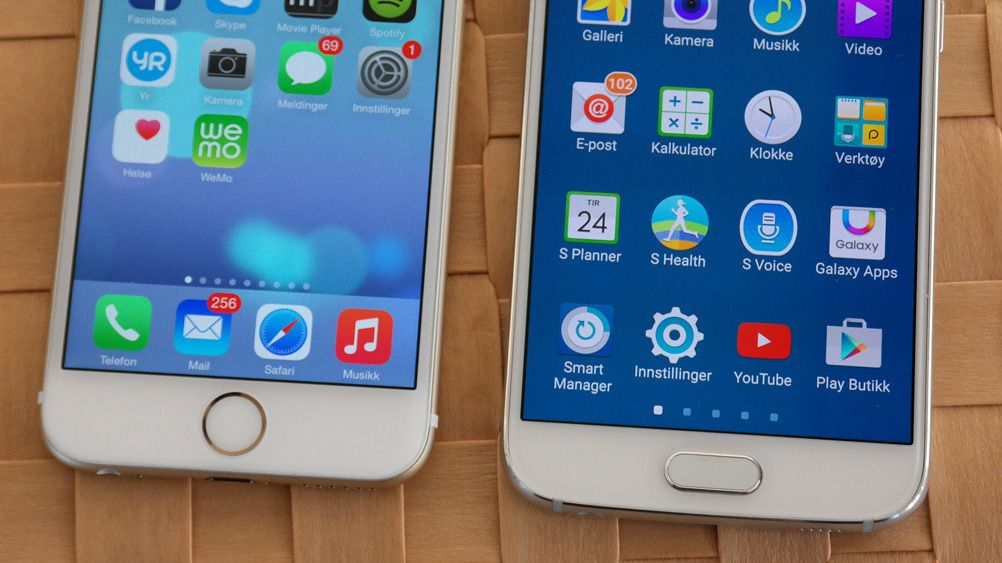 Er Galaxy S6 for lik iPhone6?