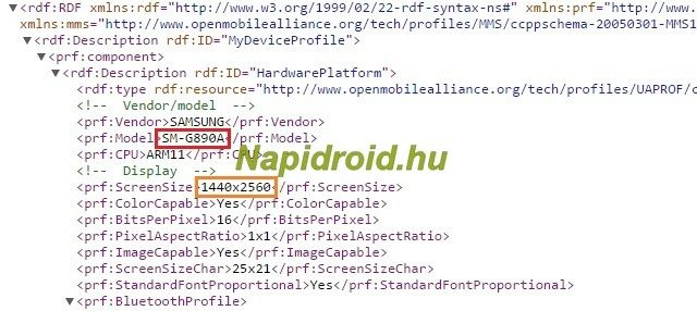 Utdrag fra «user agent profile»-filen som angivelig avslører den kommende S6 Active-modellen. Foto: Napidroid.hu