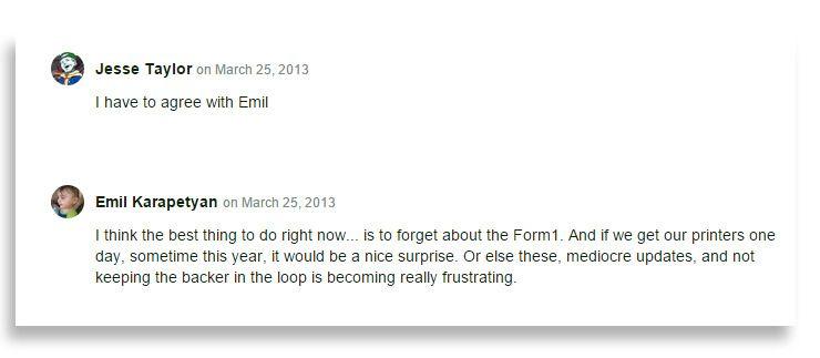 Ikke alle var like forståelselsfulle da Formlabs ikke var på tiden med 3D-printeren de hadde gitt produsenten mellom 2500- og 3000 dollar for å få. Foto: Skjermdump fra Formlabs' Kickstarterside