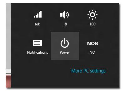 Du må få opp Charms-menyen før du kan skru av datamaskinen.