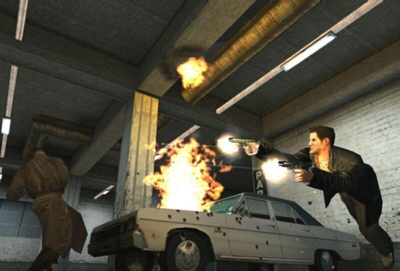 Max Payne var mørkt og dystert, og ble en stor slager i 2001. Muligheten til å fly i vei så sakte at du kunne følge kulene i svevet, var et av spillets store høydepunkter.