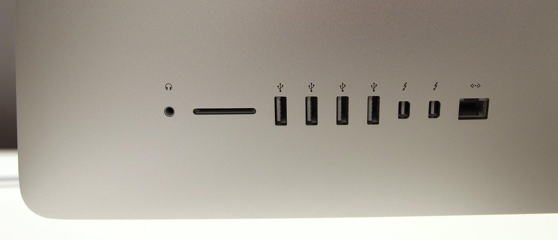 Datamaskinen har Bluetooth 4.0 og 802.11ac trådløst nettverk. I tillegg kommer lydutgang, minnekortleser, fire USB 3.0-porter, to Thunderbolt 2-porter og gigabit LAN-port.Foto: Vegar Jansen, Tek.no