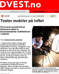 Artikkel i studentavisen Studvest fra den gangen Amobil testet på loftet. Klikk for å lese artikkelen. (Faksimile: Studvest.no)