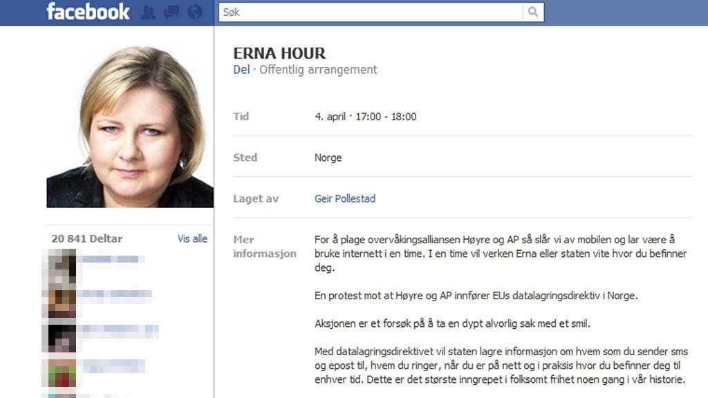 Torsdag ettermiddag hadde over 20.000 personer sluttet seg til protestaksjonen «Erna Hour» på Facebook.