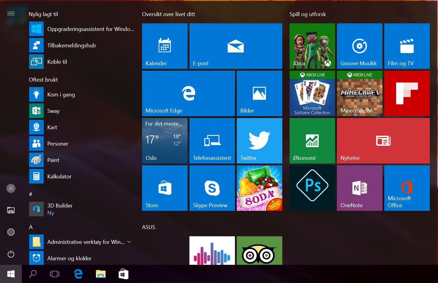 Startmenyen i Windows 10 har blitt ny.