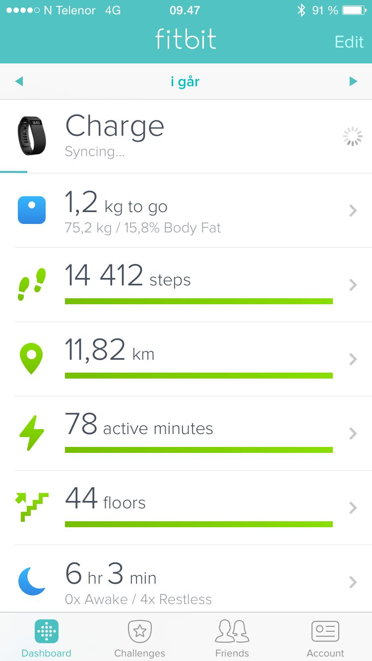 Fitbit-appen for iPhone.