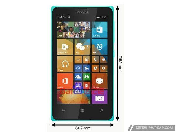 Slik ser Lumia 435 ut. Målene står ved siden av selve enheten.Foto: FCC