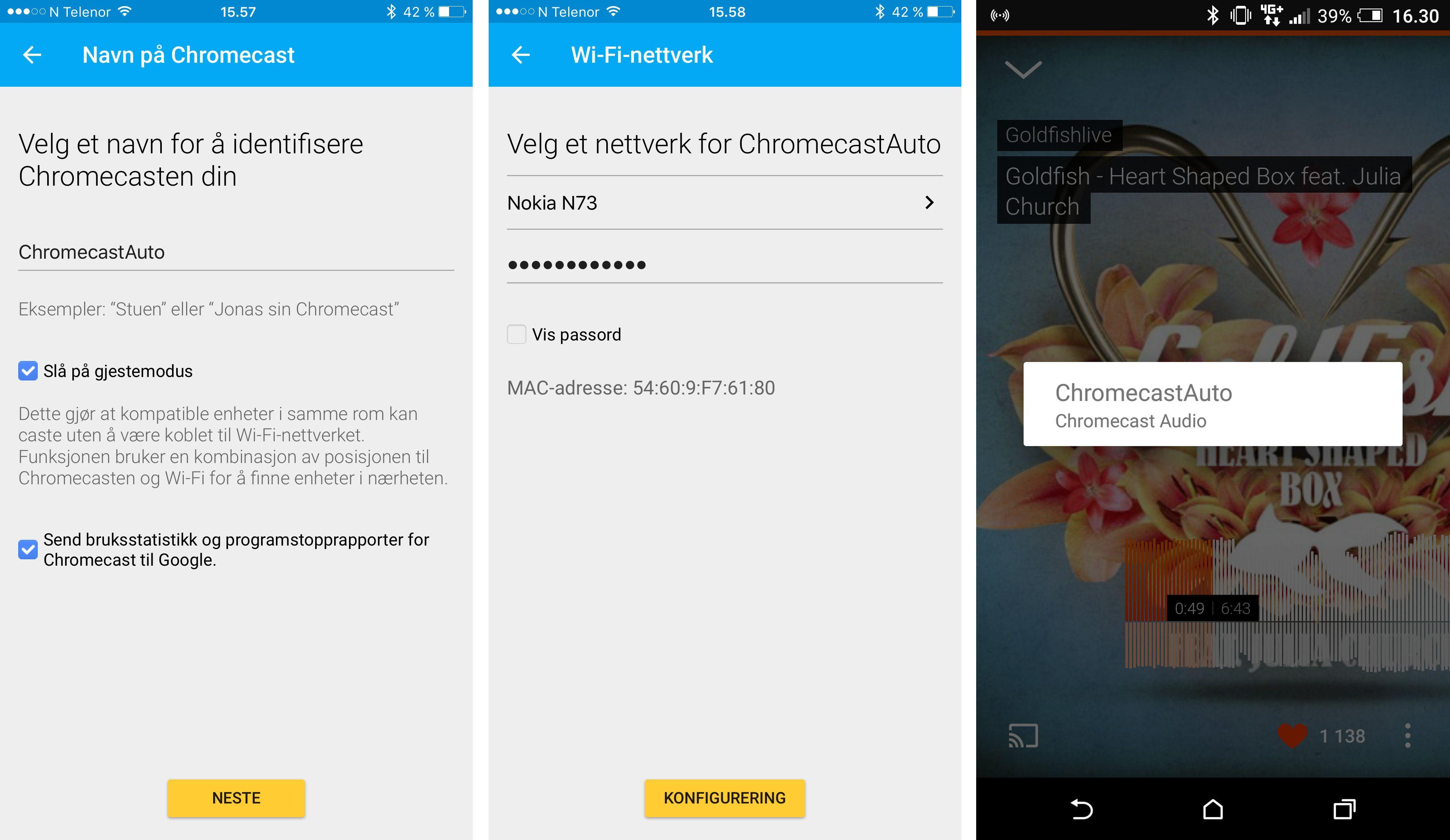 Etter å ha koblet Chromecast Audio til det delte nettverket fra en Android-telefon vil du finne dingsen direkte fra telefonen. Dette fungerer ikke like godt på en iPhone.
