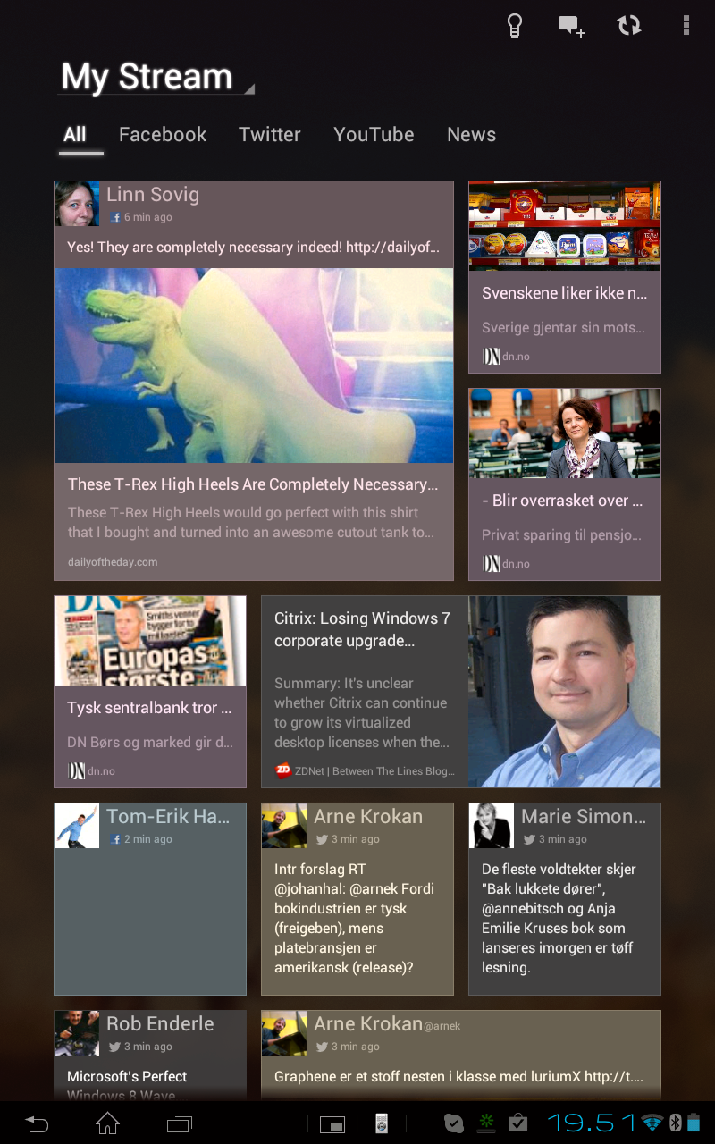 Med programmet Social Life kan du samle nyhetsstrømmer fra Facebook, Twitter, YouTube og Google Reader.