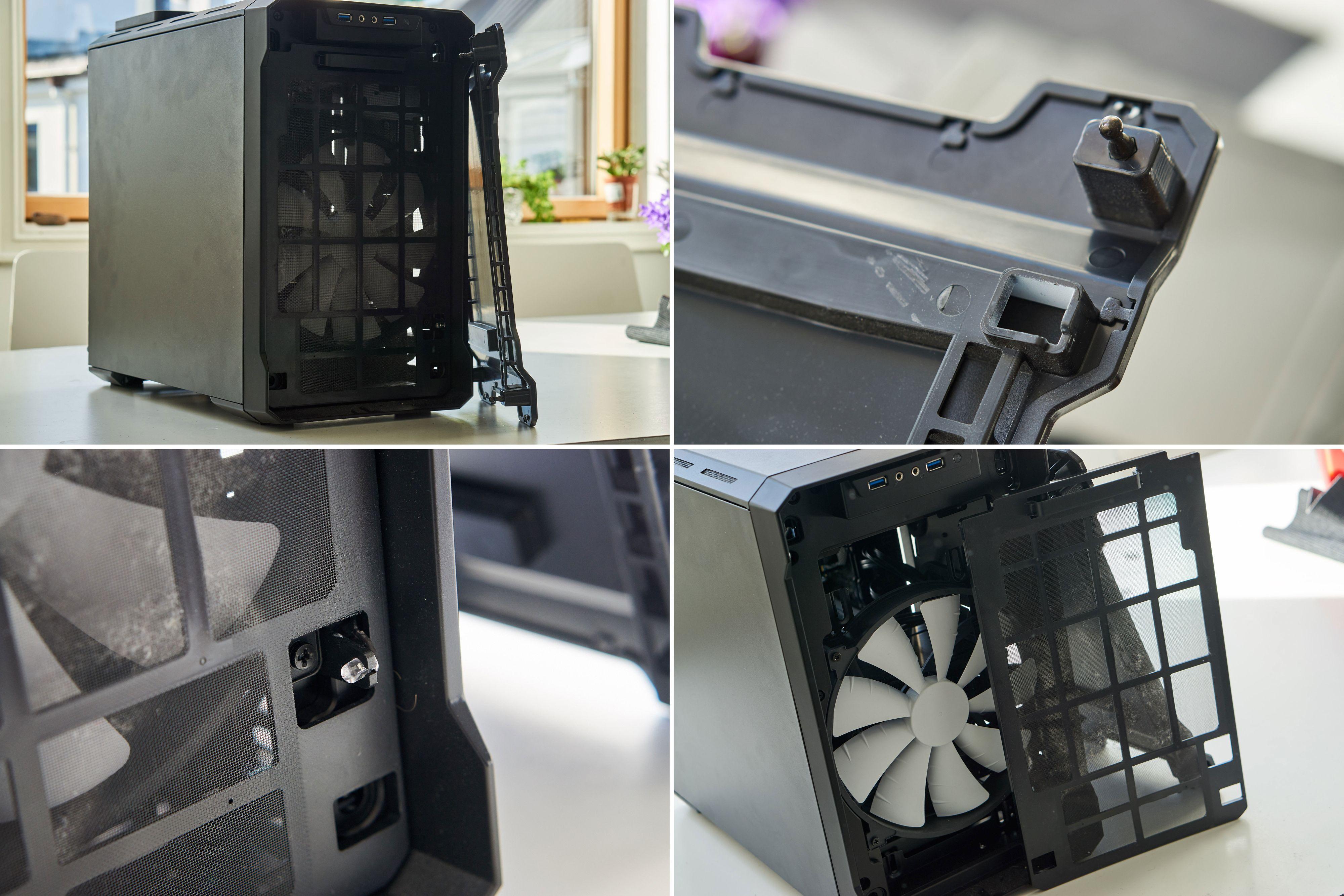 Frontdekselet tas enkelt av, og avslører et støvfilter – og bak det hovedviften på 200 millimeter.