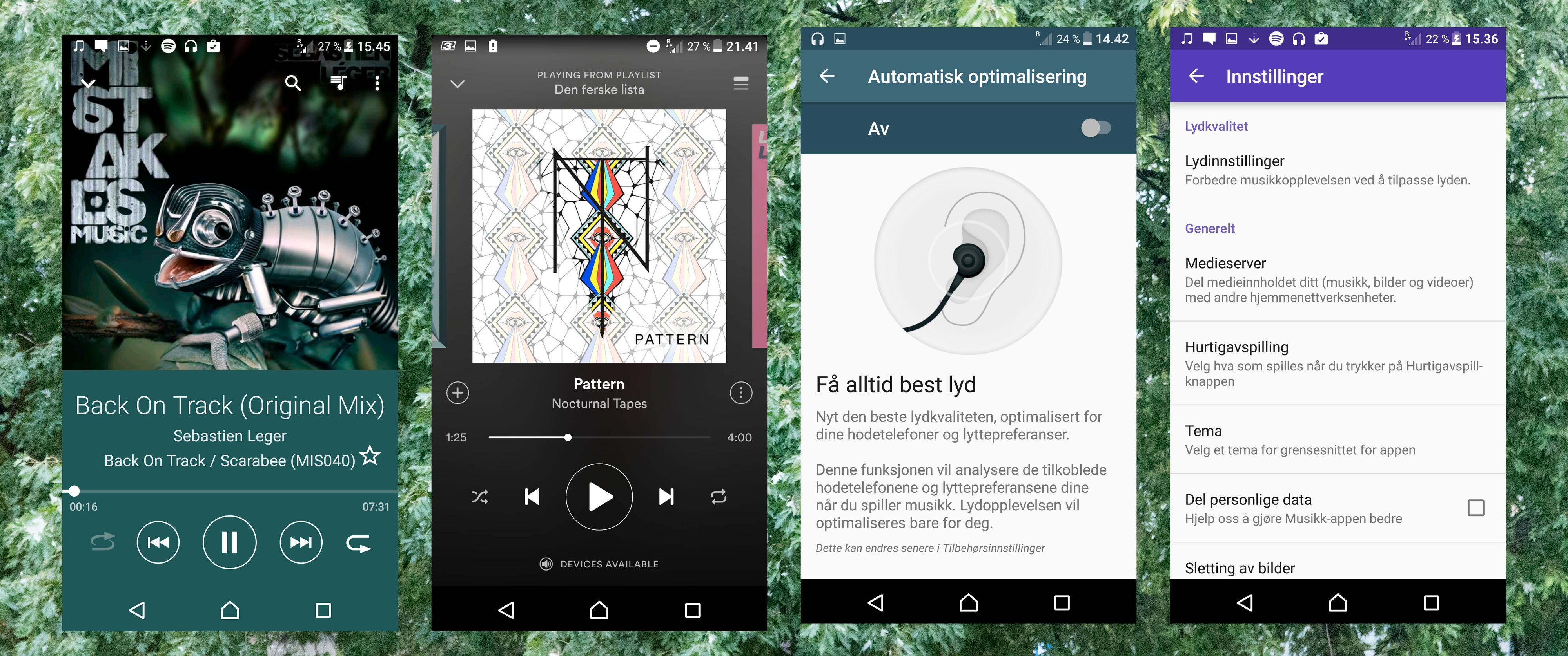 Du kan stille lydprofilen slik du ønsker den, eller la telefonen tilpasse seg hodetelefonene dine. Tre forskjellige musikkspillere følger med.