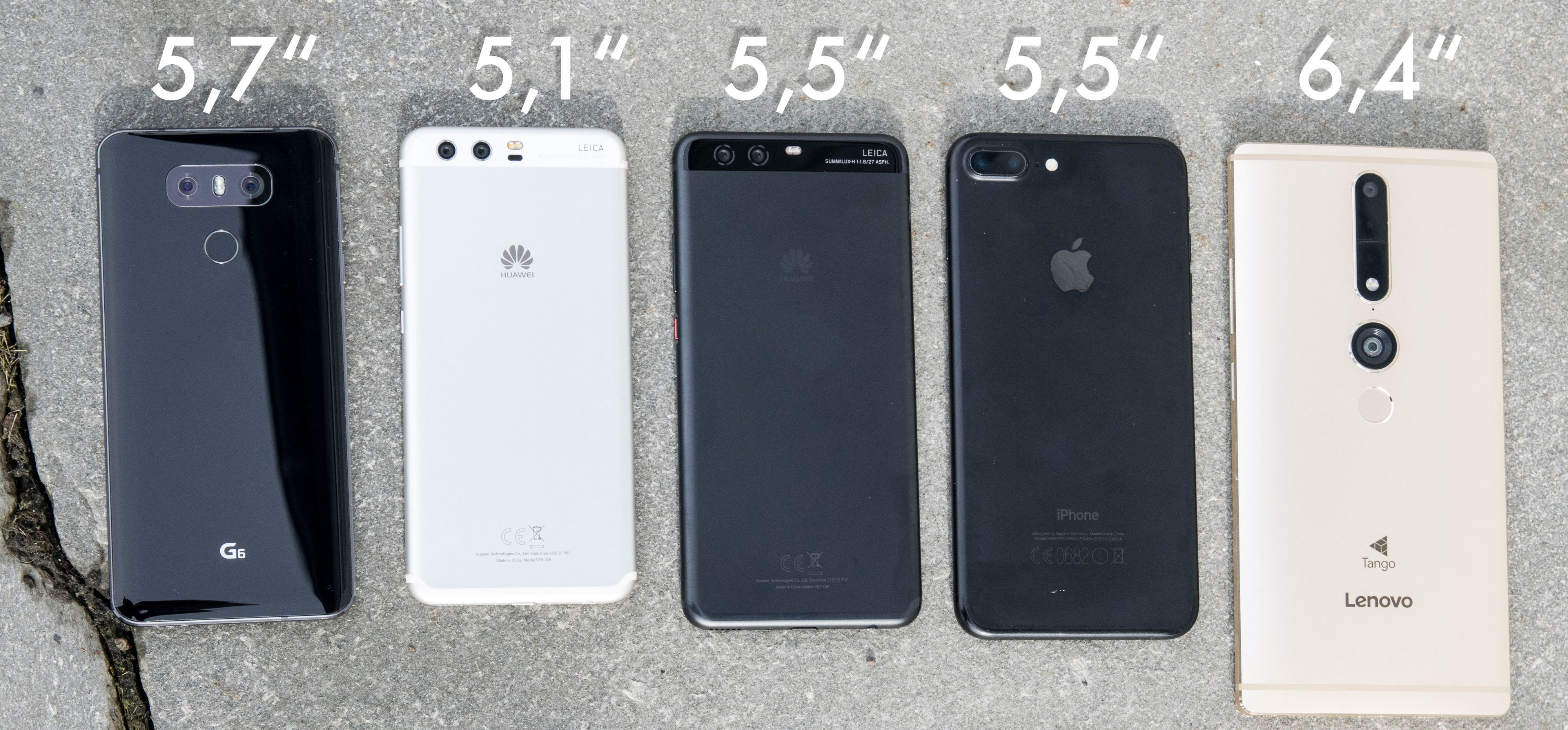 Fra venstre: LG G6, Huawei P10, Huawei P10 Plus, iPhone 7 Plus, Lenovo Phab 2 Pro. En av telefonene med størst skjerm her er faktisk en av de to minste. LG G6 har 5,7 tommers skjerm i ekstremt kompakt innpakning. Huaweis P10 Plus legger seg midt mellom den vanlige P10-modellen og Apples iPhone 7 Plus i størrelse.