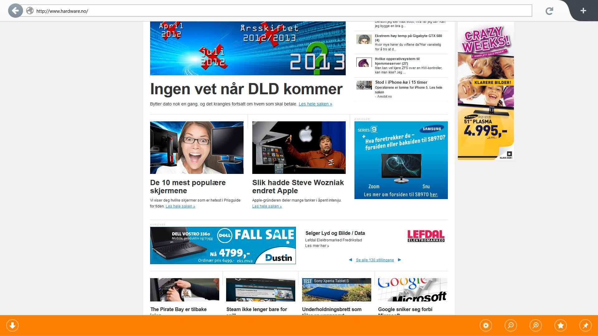 Slik ser Firefox ut når du åpner det opp fra startskjermen i Windows 8.