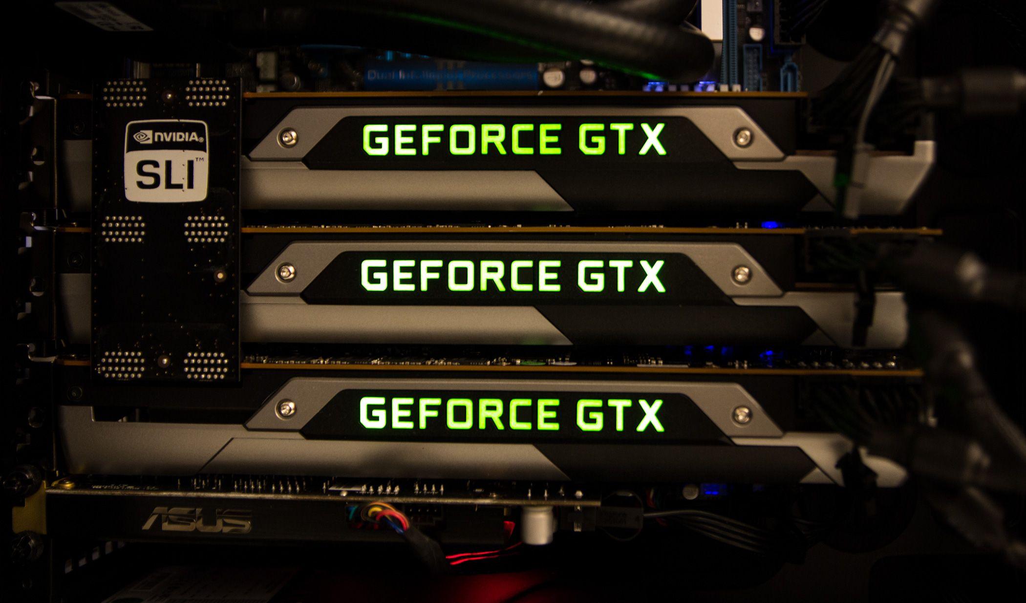 Satt opp i 3-Way SLI byr Titan på store krefter – opp til det dobbelte av GTX 690 i Quad-SLI, sier Nvidia.Foto: Varg Aamo, hardware.no