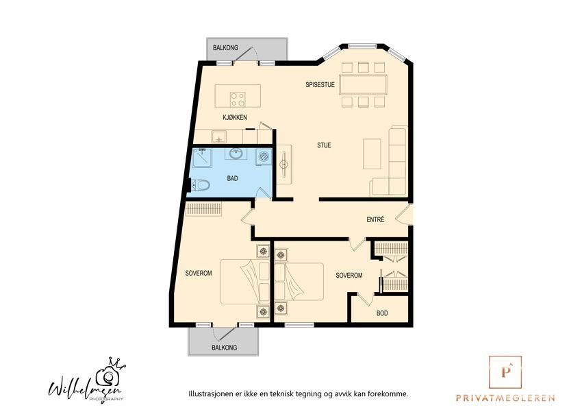 GOD PLANLØSNING: Leiligheten på 91 kvm har stor stue, to gode soverom, walk-in garderobe og to balkonger.