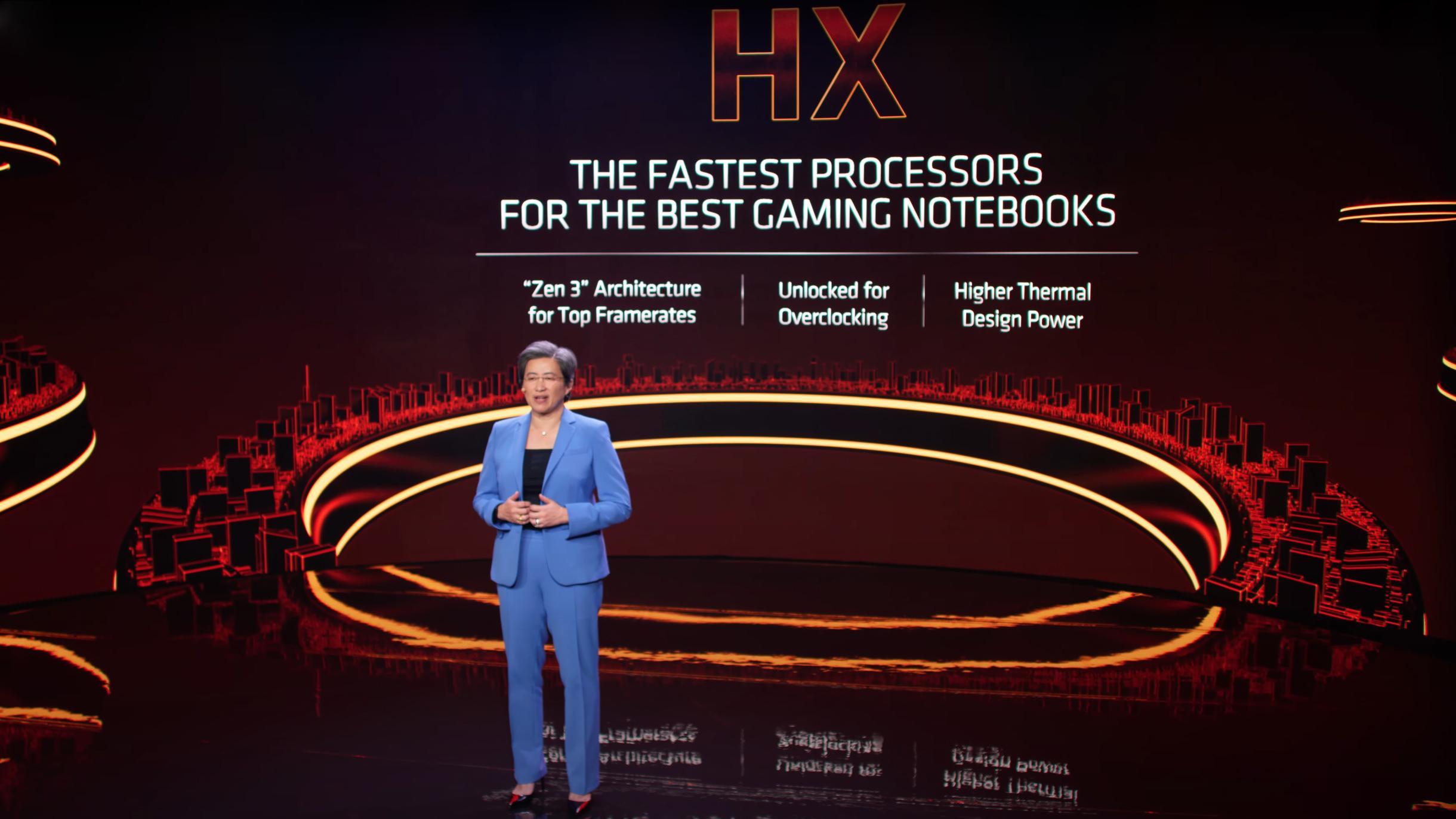 AMDs toppsjef, Lisa Su, presenterer de nye Ryzen 5000HX-prosessorene for spillbærbare under årets CES-messe.