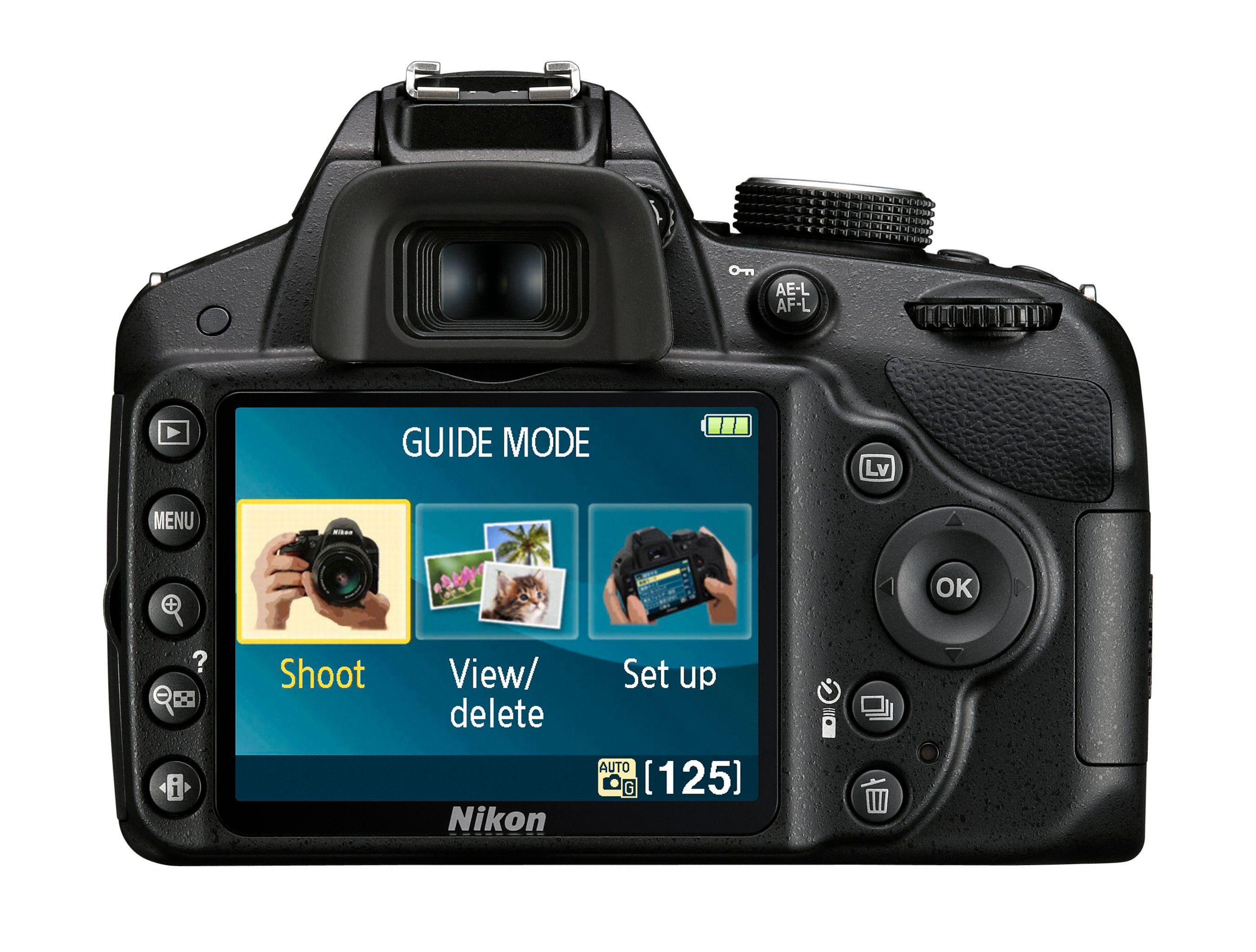 Baksiden av Nikon D3200.