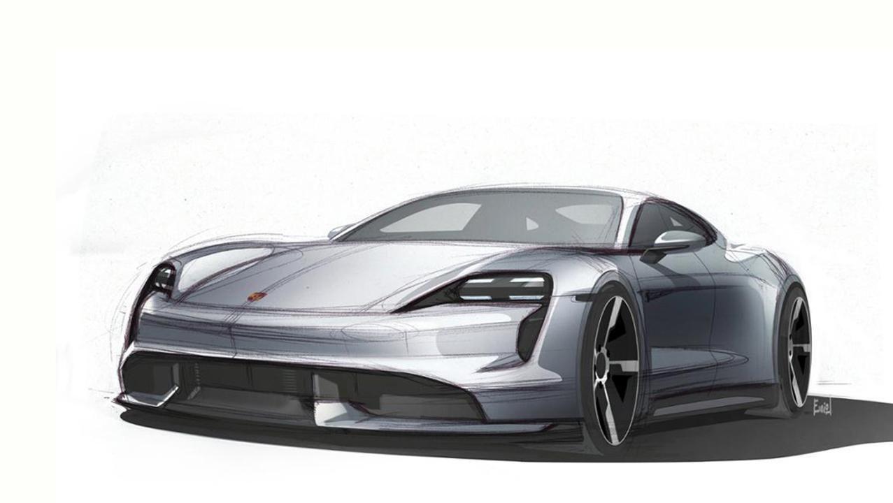 Porsche slapp designskisser av det som skal være produksjonsversjonen av Taycan.