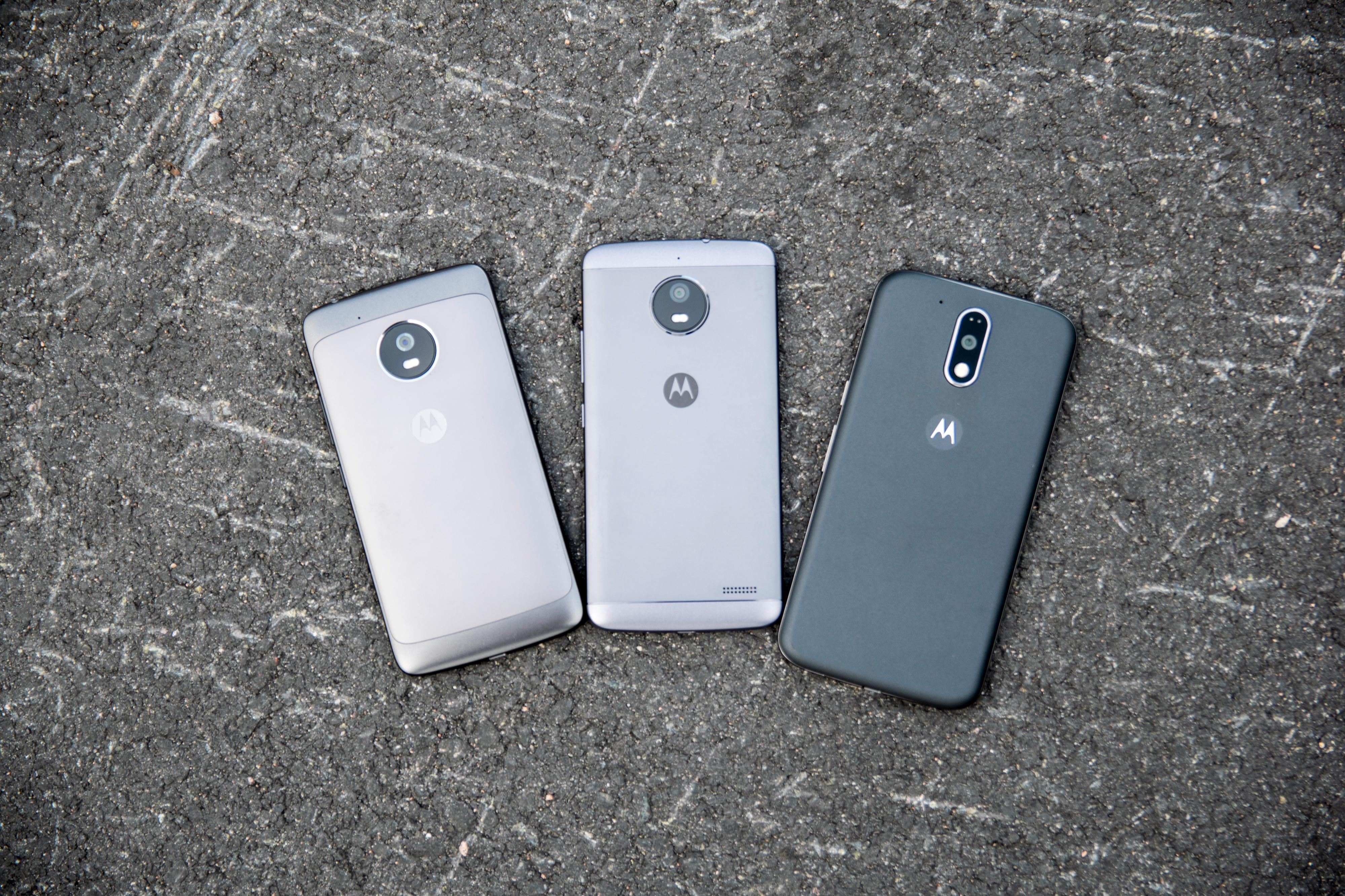 Fra venstre: Moto G5, Moto E4 og Moto G4 Plus.