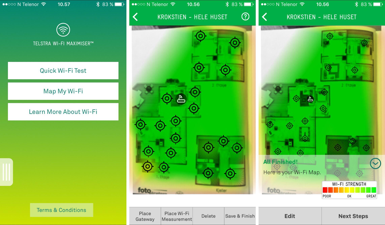 Med appen Telstra Wi-Fi Maximizer kan du enkelt gjøre målinger med mobilen på ulike steder i huset ditt.