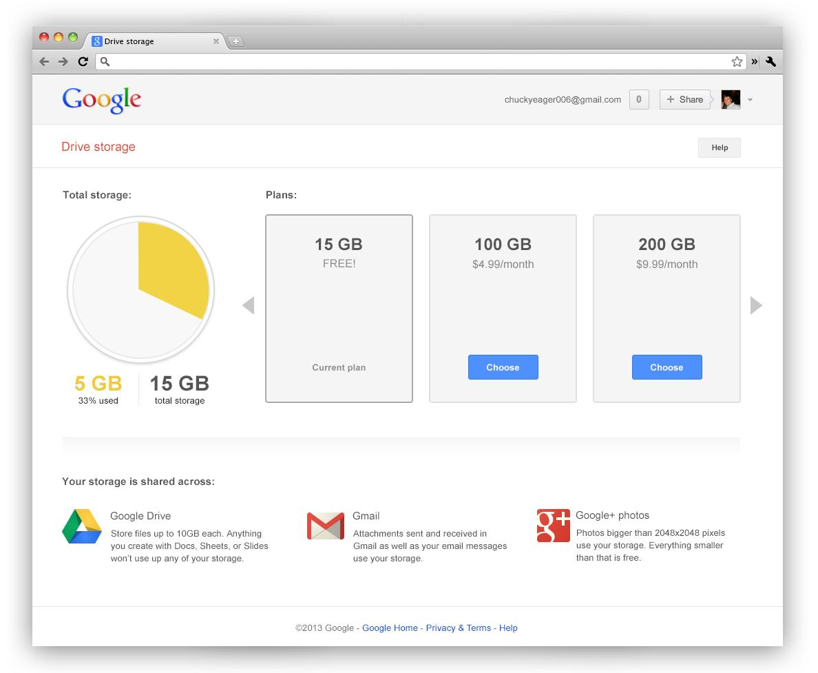 På denne siden får du oversikt over hvor mye lagringsplass du bruker.Foto: Google