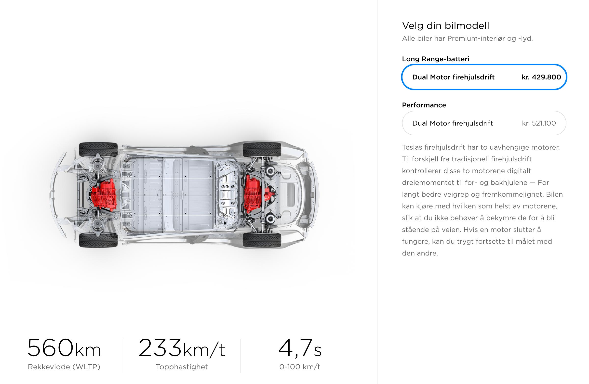 I Norge ser Model 3-utvalget fortsatt slik ut, men startprisene er altså senket. Vi må vente noen måneder til før vi får tilgang til de rimeligere variantene.