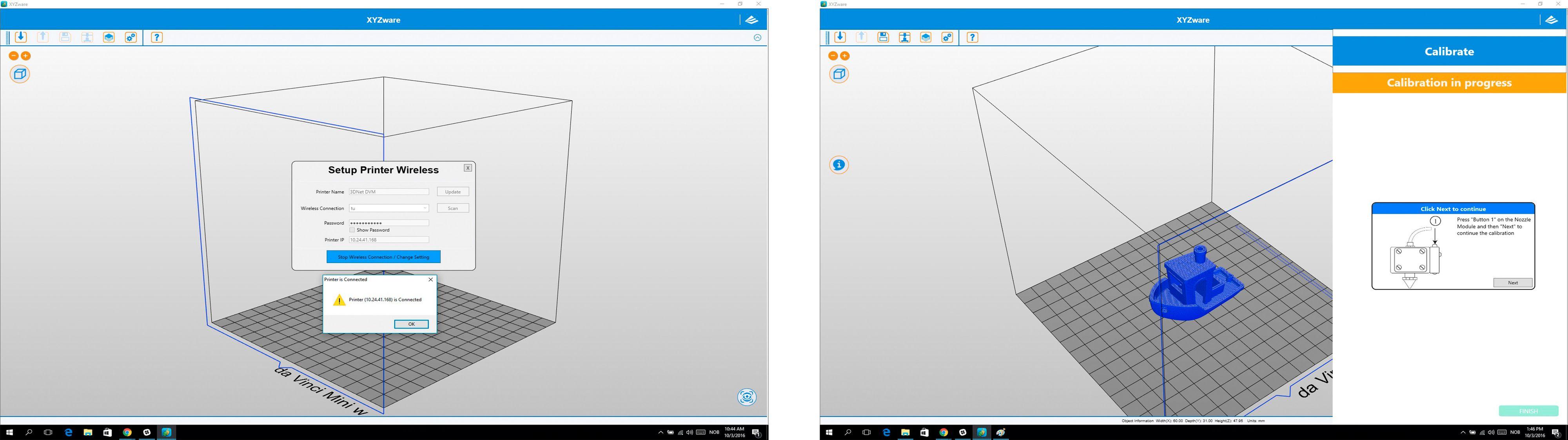 XYZware-programmet: Kalibrering av skriveplate og wifi-tilkobling er godt forklart og du veiledes gjennom skrittene i programmet.