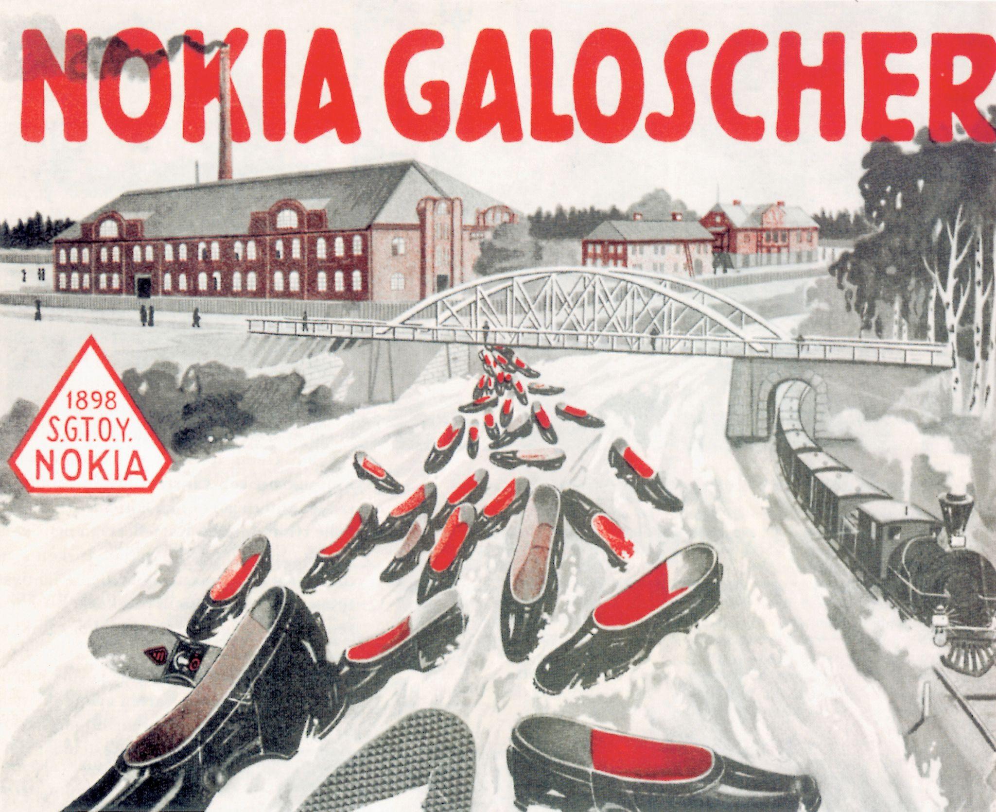 Denne reklameplakaten fra 1905 er for Nokia-kalosjer fra Finnish Rubber Works.