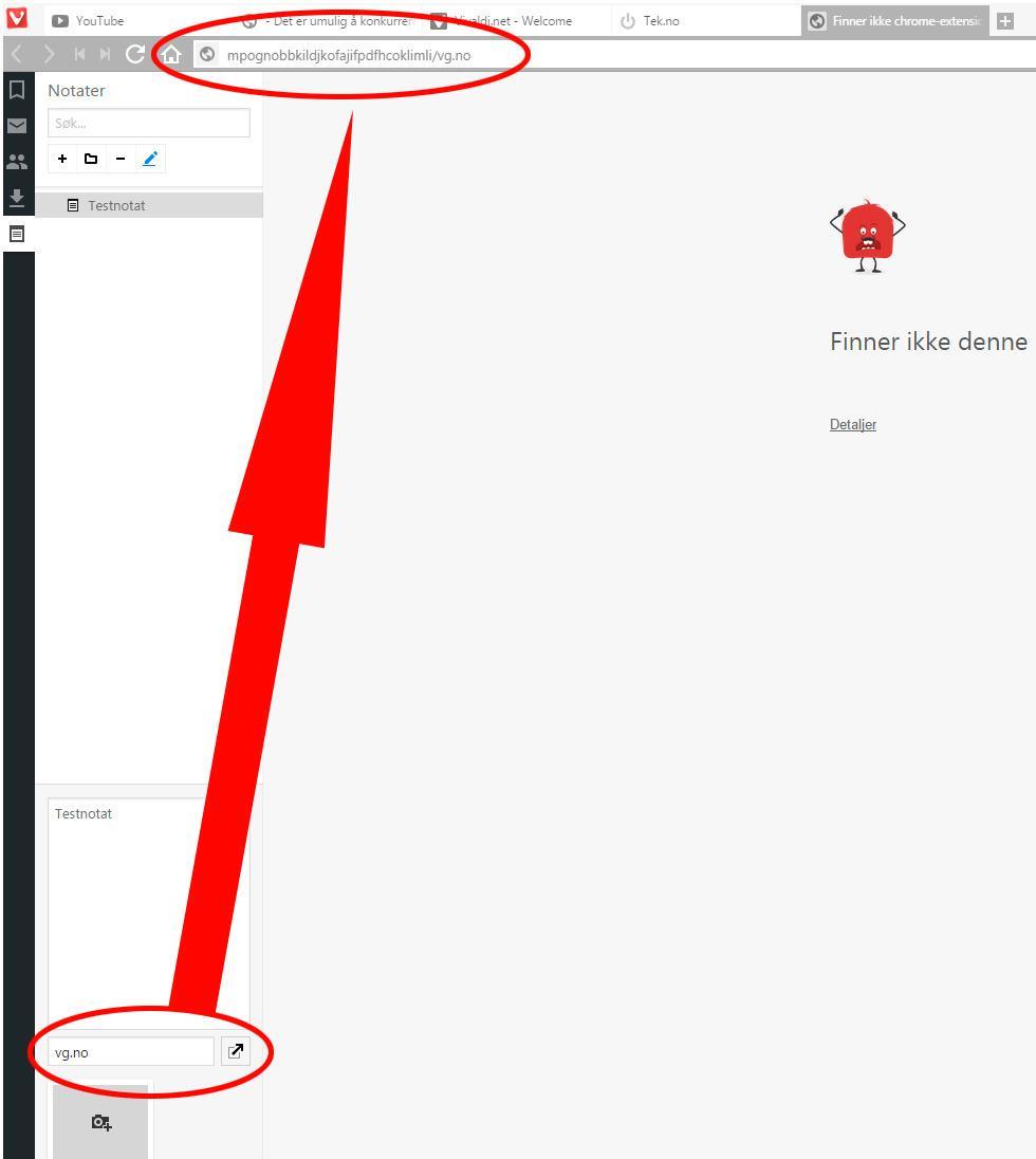 Notatfunksjonen virker en smule uferdig. Knappen sier ikke noe særlig om hva den gjør, men den spytter tilsynelatende ut bokstavsalat i tillegg til URL-en du forsøker å legge inn.
