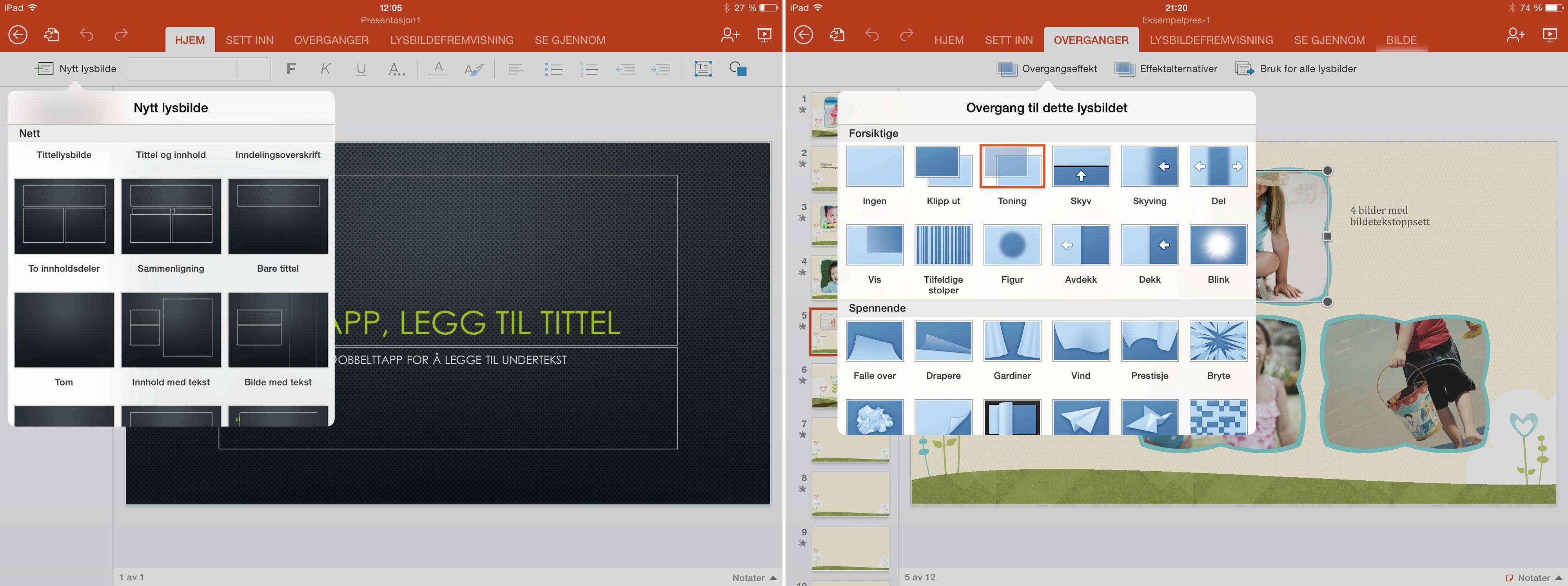 PowerPoint for iPad er enkel å bruke, og har nok funksjoner til at du fint kan lage hele presentasjonen på iPad-en. .